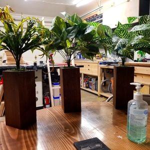 Fake plant wood vase